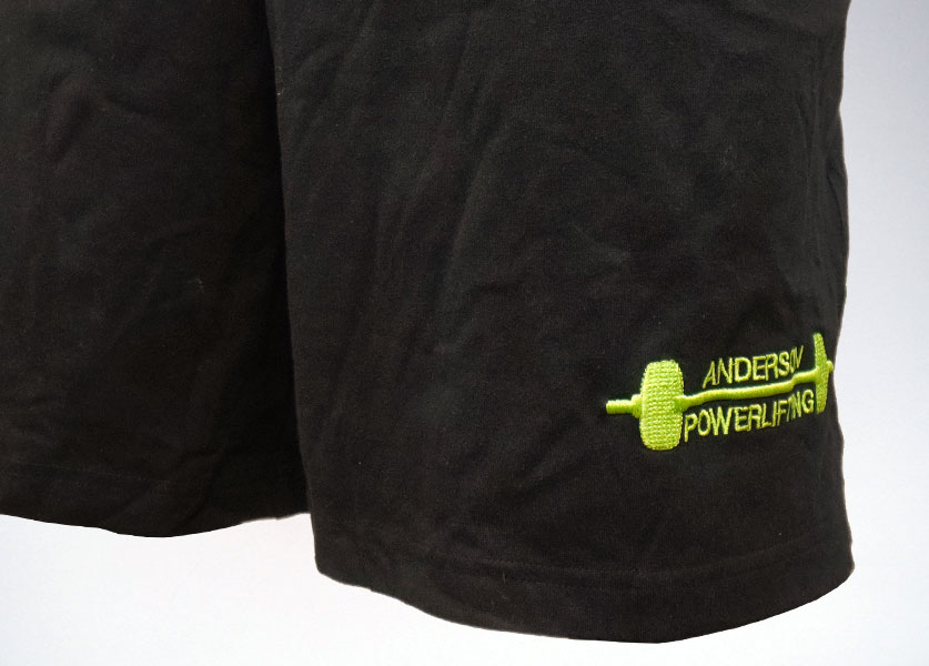 close up of anderson powerlifting kla barbell shorts