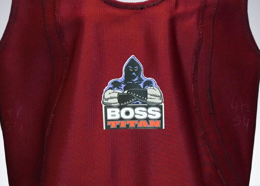 close up of boss squat suit