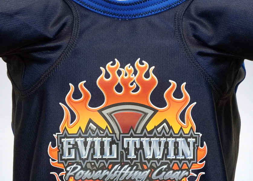 close up of evil twin bench shirt