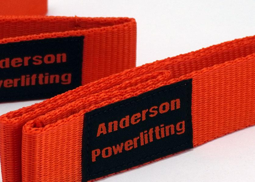 close up of orange nylon kla lifting straps
