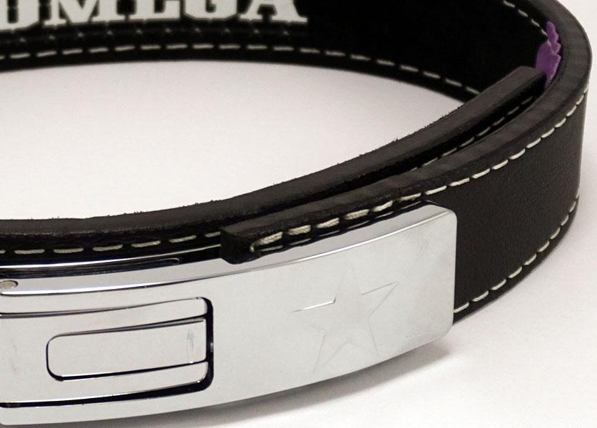 close up of omega lever bench belt