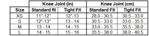 Size Chart for Anderson KLA Performance Knee Sleeves for Support and Healing