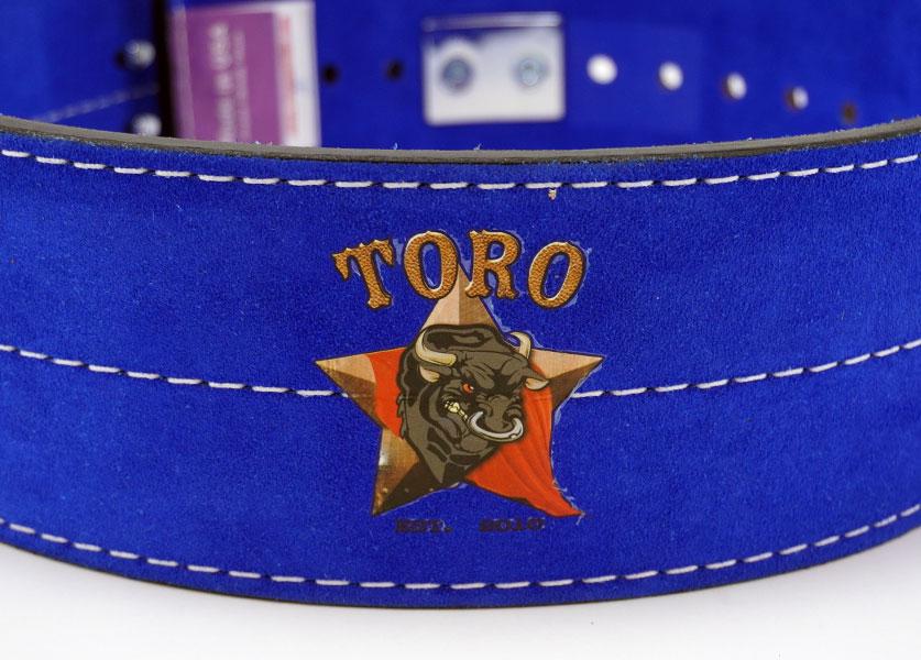 close up of blue toro lever belt logo